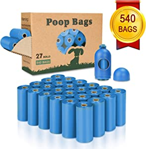 Yingdelai Dog Poop Bag 540 Counts - Biodegradable Dog Waste Bags with 1 Dispenser, Large Pet Waste Bags for Doggy (Scented)
