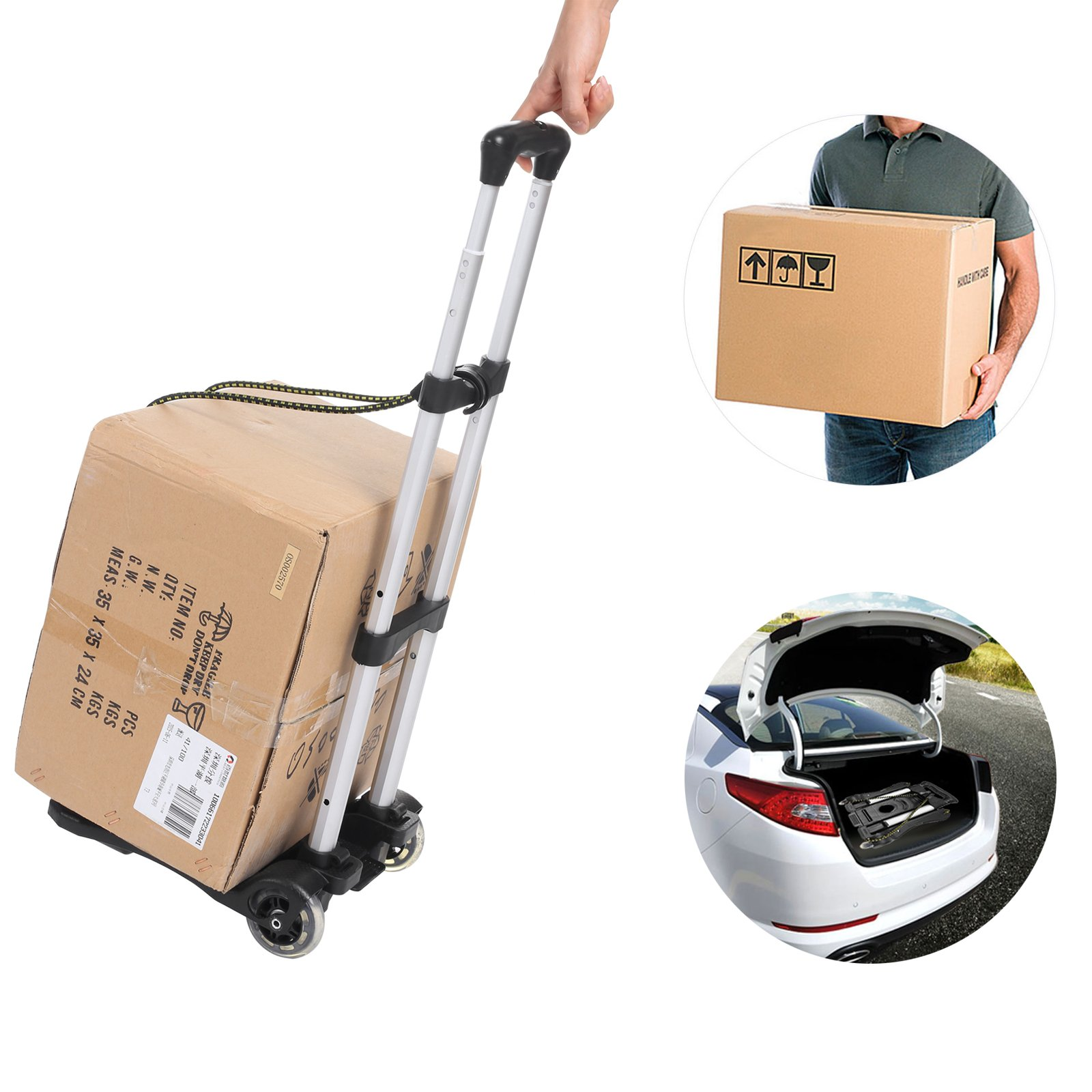 Anfan Folding Luggage Cart Portable Personal Moving Hand Truck 2 Wheels Foldable Platform Truck Shopping Cart - Support 80lbs Capacity by Anfan (Image #7)