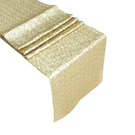 Christmas Tablescape Decor - Exquisite premium quality glitzy sequin champagne table runner