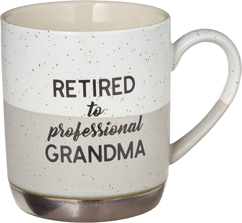 Pavilion Gift Company Large 15 Oz Stoneware Coffee Cup Mug Retired To Professional Grandma, 15oz, Grey