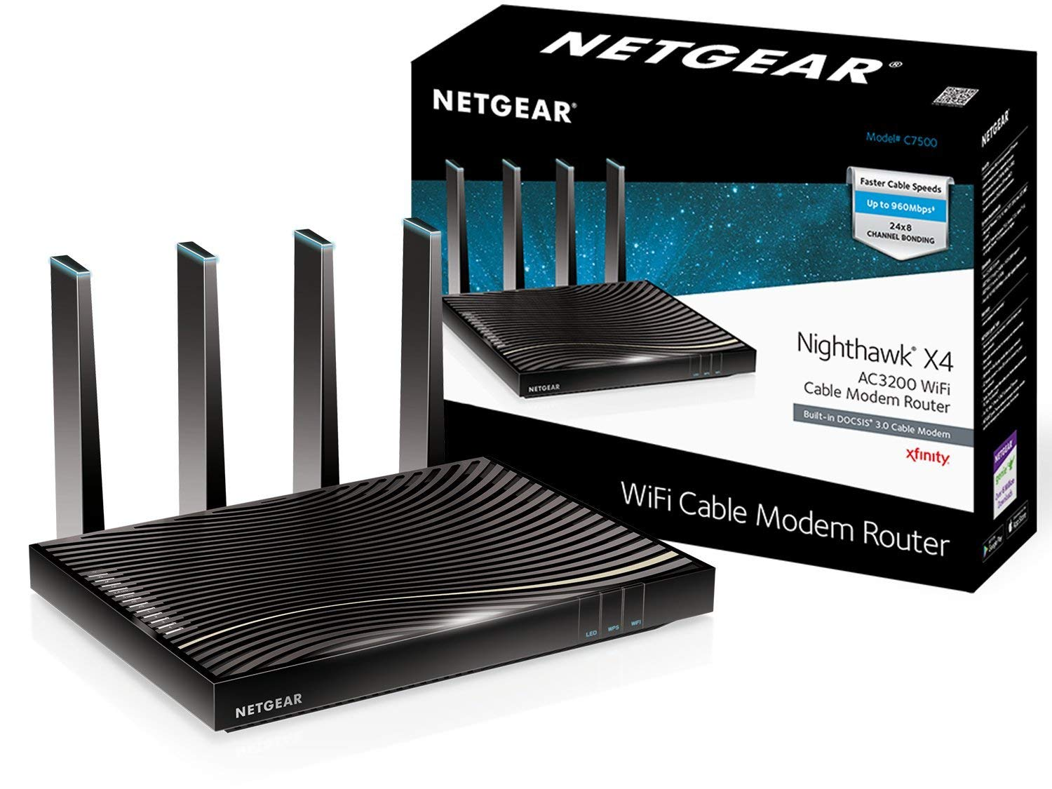Netgear C7500-100NASNETGEAR Nighthawk X4 (24x8) AC3200 DOCSIS 3.0 Cable Modem WiFi Router Combo   Certified for Xfinity by Comcast, COX, Spectrum & More(C7500) (Renewed)