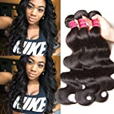 Nadula 6A Grade Gorgeous Brazilian Virgin Body Wave Weave 3 Bundles (100+/-5g)/pc, 8-26inch 100% Unprocessed Remy Virgin Human Hair Extensions Natural Color