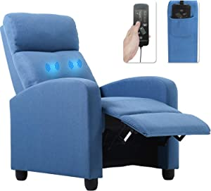 Recliner Chair for Living Room Winback Home Theater Seating Single Sofa Massage Recliner Sofa Reading ChairModern Reclining Chair Easy Lounge with Fabric Padded Seat Backrest