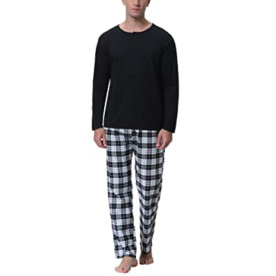 Aibrou Mens Cotton Striped Sleepwear Long Sleeve Top & Bottom Pajama Set at Amazon Men's Clothing store