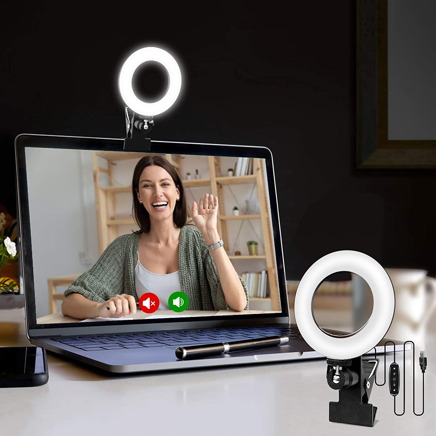 Cyezcor Video Conference Lighting Kit, Light for Monitor Clip On,for Remote Working, Distance Learning,Zoom Call Lighting, Self Broadcasting and Live Streaming, Computer Laptop Video Conferencing