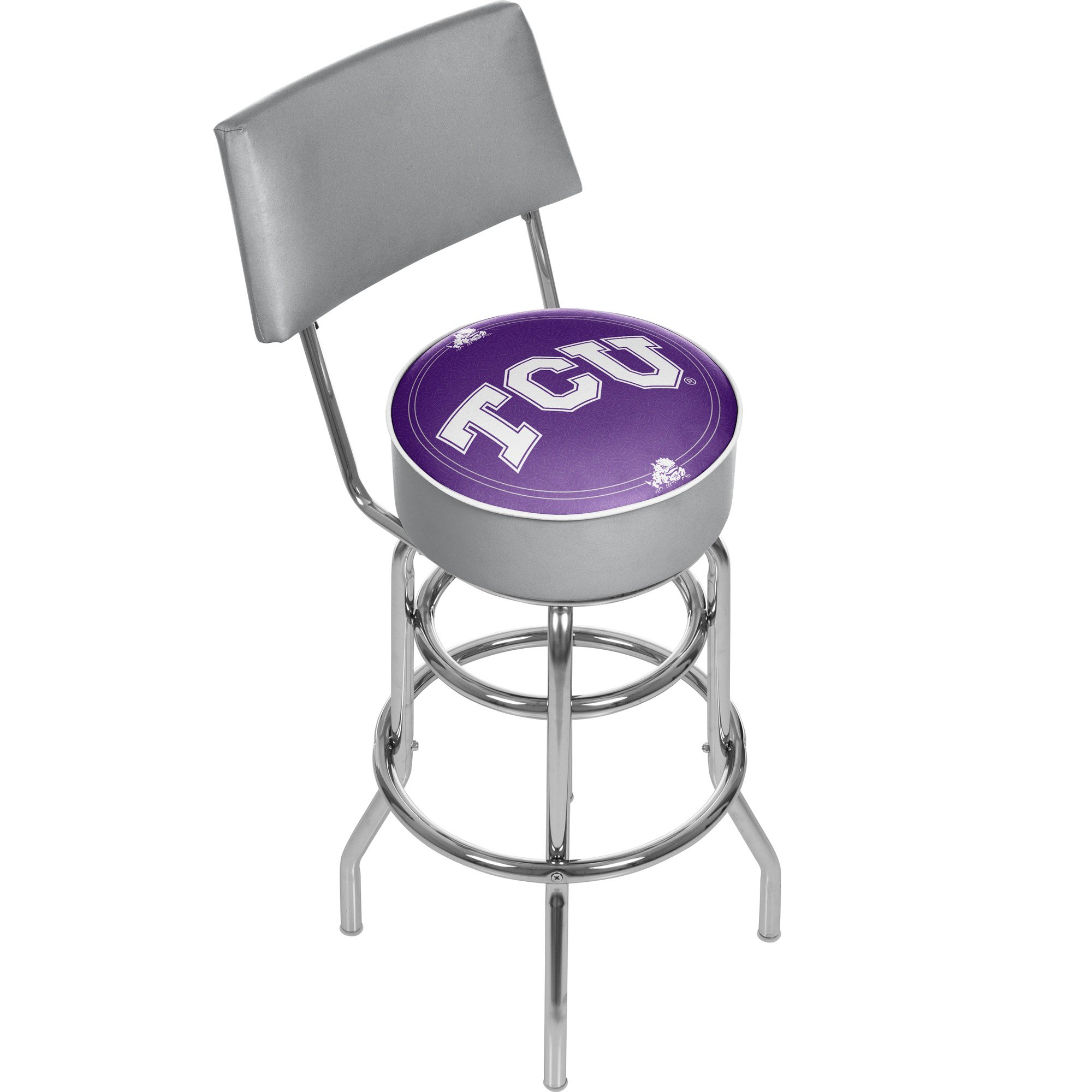 NCAA Texas Christian University Padded Swivel Bar Stool with Back by Trademark Gameroom
