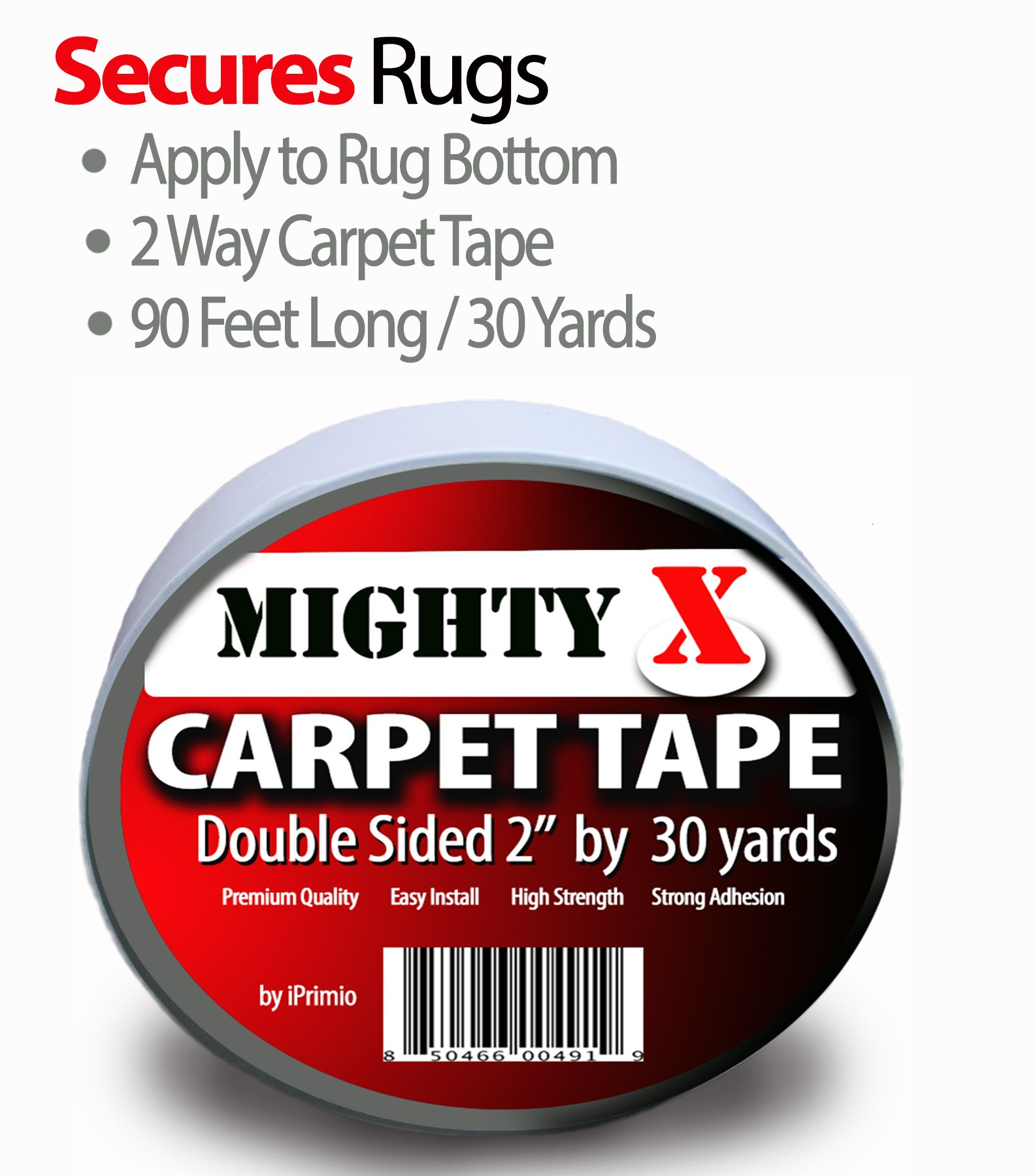 Mighty''X'' Indoor Rug/Carpet Tape Double Sided 30 Yards x 2 Inches - Extra Thick - Heavy Duty by iPrimio by iPrimio (Image #2)