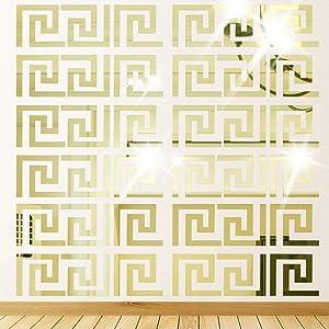 Himerus 40 Pcs Mirror Wall Stickers Vintage Greek Key Geometric Pattern Removable Wall Decals DIY Vinyl Art Wall Sticker Art Home Decoration for Window Bedroom Sitting Room (Gold-40)