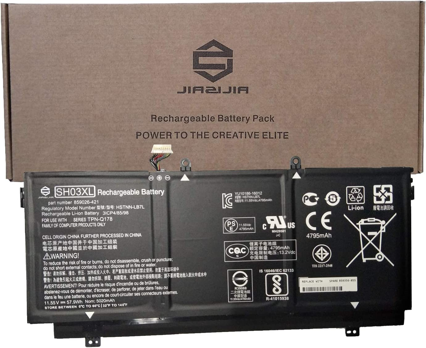 JIAZIJIA SH03XL Laptop Battery Replacement for Hp Spectre X360 13-AC033DX 13-W002NG 13-W003NG 13-W013DX 13-W023DX 13-W031NG 13-W033NG Series 859026-421 HSTNN-LB7L 859356-855 901345-855 11.55V 57.9Wh