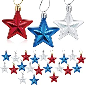 24PCS 4th of July Decorations Hanging Star Ornaments Chritsmas Xmas Tree Patriotic Hanging Home Decor for Flag Day Independence Day Labor Day Memorial Day Party Wedding Decor (Blue, Red and Silver)