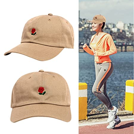 Amazon.com: KFSO Rose Embroidered Dad Hat Women Men Cute Adjustable Cotton Floral Baseball Cap (Khaki): Arts, Crafts & Sewing