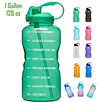 Giotto Large 1 Gallon/128oz (When Full) Motivational Water Bottle with Time Marker...