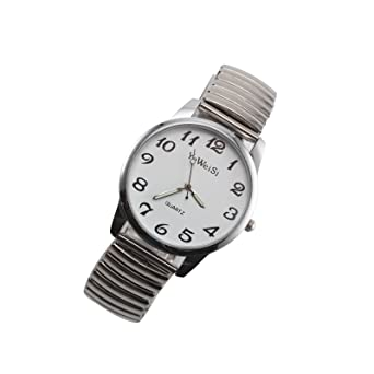 f5906f059aeaa PetHot Wrist Watches Expandable Stretch Band Strap Big Numbers Dial Ladies  Women Men Quartz Couples Watch Sliver Large  Amazon.co.uk  Watches