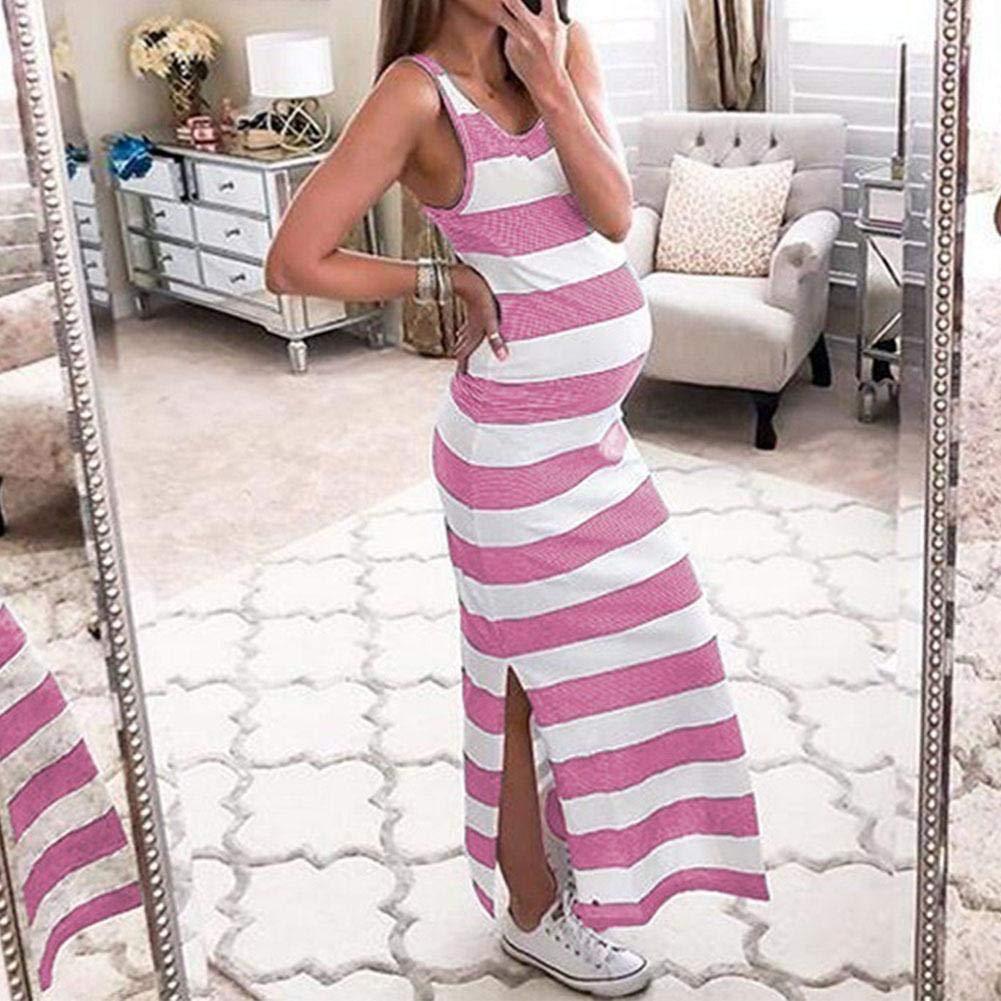 Vestido Rayado Embarazada de Las Mujeres Vestidos sin Mangas de Maternidad del Cuello Redondo Rayado de la Raja Larga para el Verano