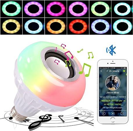 Lampadina LED e altoparlante Bluetooth audio stereo senza fili con telecomando lampada RGB da 6 W che cambia
