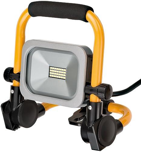 Brennenstuhl Mobiler Slim LED-Strahler 10 Watt, f/ür au/ßen und innen, Baustrahler IP54, LED Fluter silber