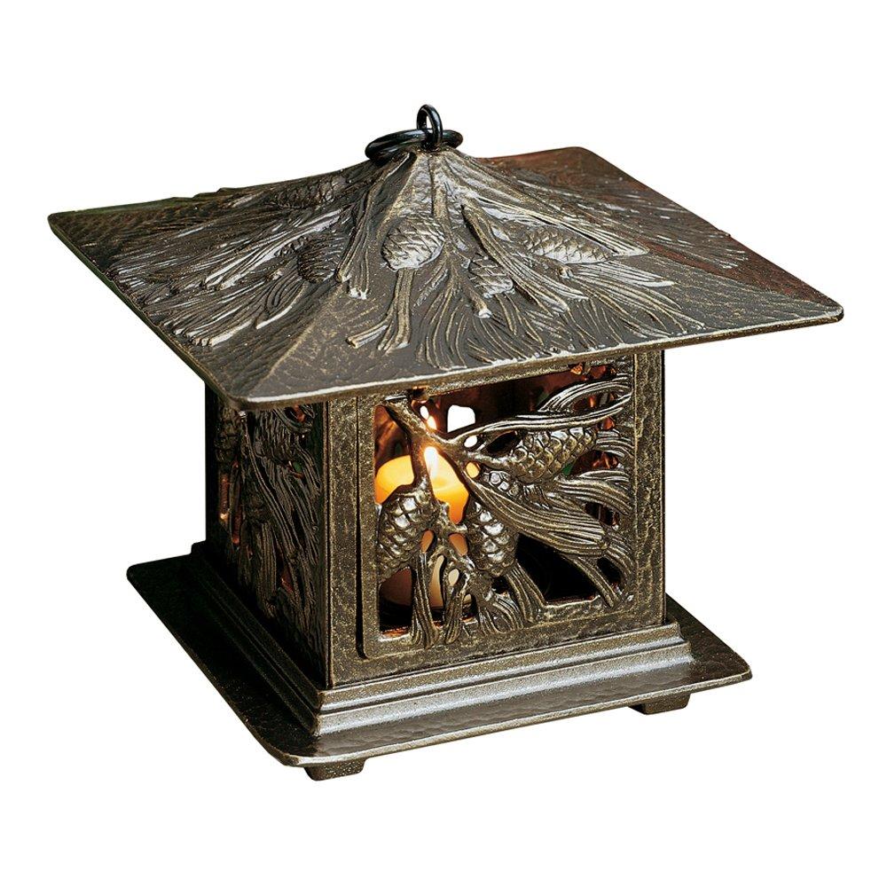 Whitehall Products Pinecone Tea Lantern, French Bronze