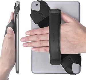"JOYLINK Universal Tablet Hand Strap Holder, 360 Degrees Swivel Leather Handle Grip with Elastic Belt, Secure & Portable for 7.9"" -8.4"" Tablets (Samsung Asus Acer Google Lenovo iPad Mini), Black"