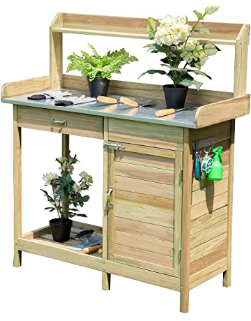 Beau Giantex Potting Bench Table For Outside Natural Wood Garden Plant Lawn  Patio Table Storage Shelf Moisture