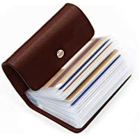 OFIXO Pack of 1| 24 Bits Black Card Holder Leather Business Card Holder Credit Card Holder Case Card (Dark Brown-999)