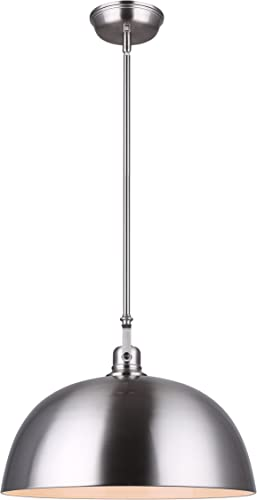 CANARM IPL222B01BN16 LTD Polo 1 Light Rod Pendant, Brushed Nickel with Painted White Interior