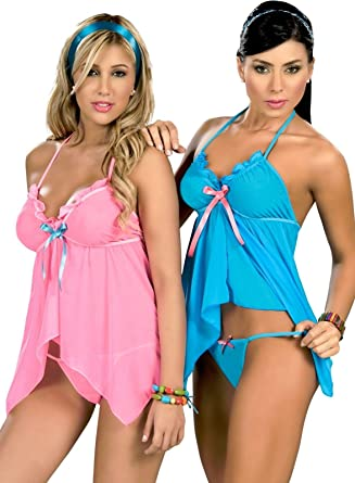 Espiral 7019 Lady Sexy Blue Pink Baby Doll Teddy Lace Lingerie Thong G-String  S M L XL 7f990f379