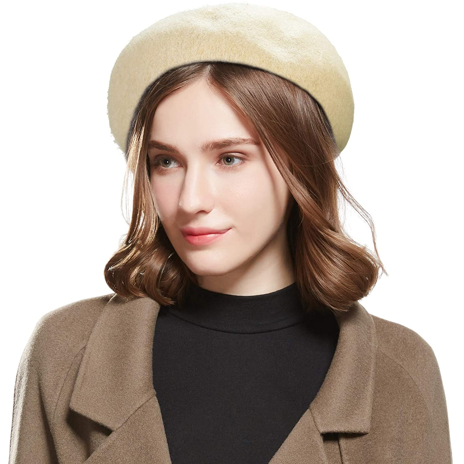 499e37f81 WELROG Wool French Beret Hat - Adjustable Casual Classic Solid Color Artist  Caps for Women