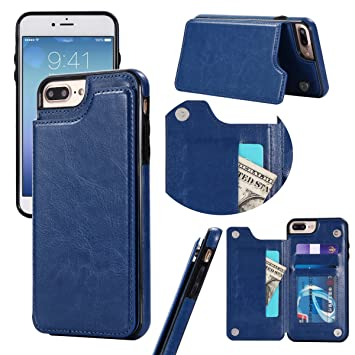 iPhone 7 Plus / iPhone 8 Plus Funda, adorehouse Flip Stand Case Celular Estuche PU Cuero Cover con tapa tarjetero y soporte Diseño Billetera Carcasa ...