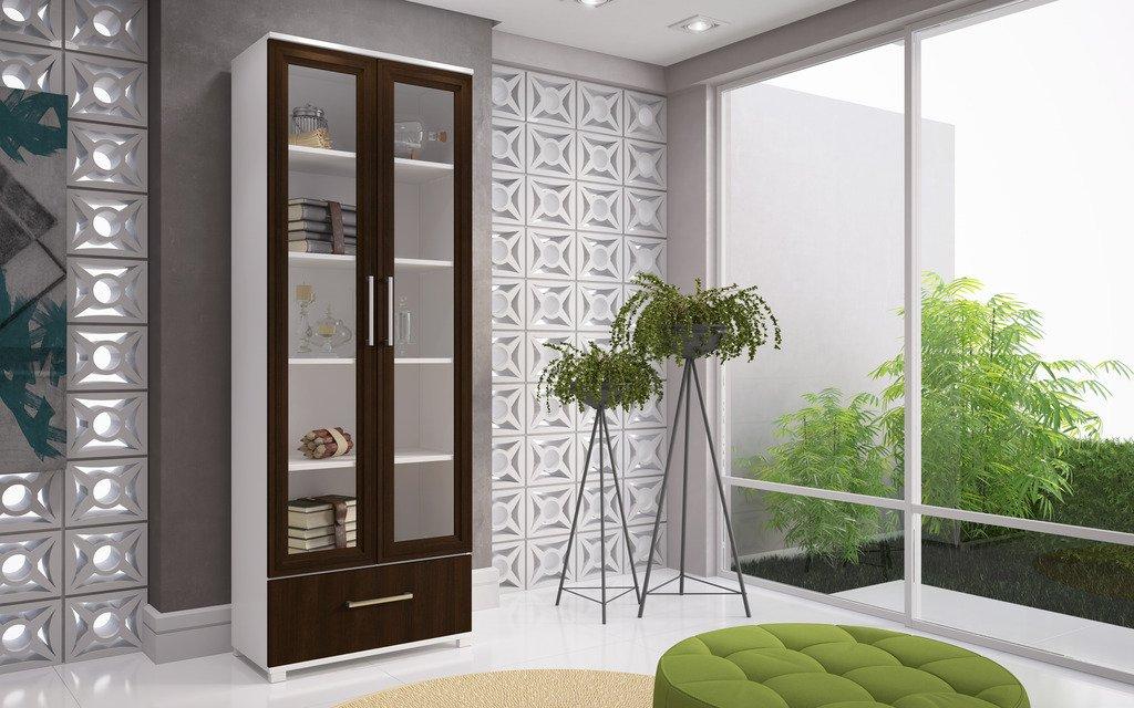 Manhattan Comfort Serra Modern Storage Bookcase With Glass Door, Nut Brown by Manhattan Comfort
