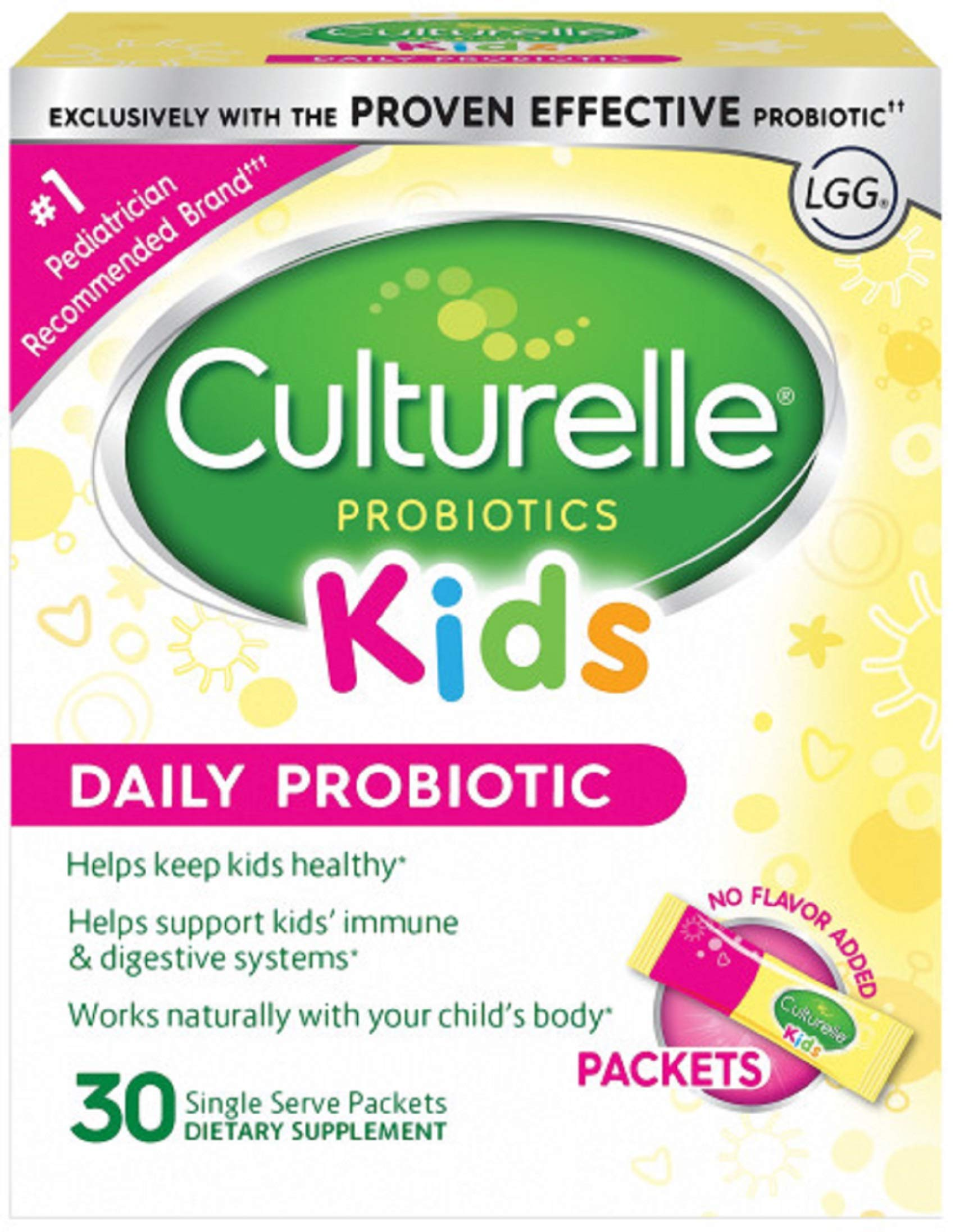 Culturelle Kids Packets Daily Probiotic Supplement | Helps Support a Healthy Immune & Digestive System* | #1 Pediatrician Recommended Brand††† | 30 Single Packets | Package May Vary by Culturelle