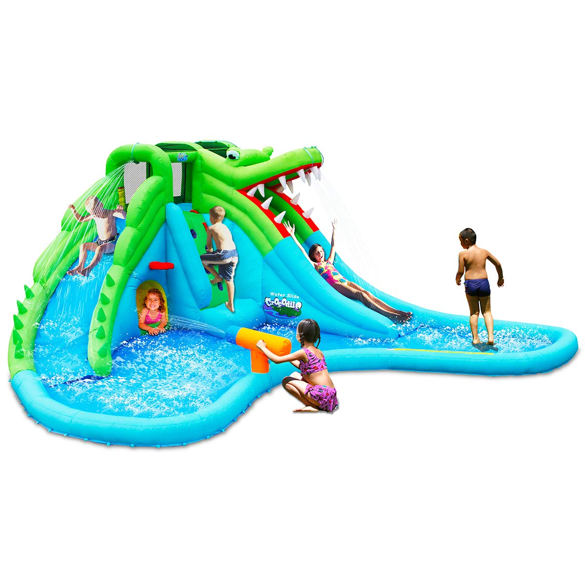 Costzon Inflatable Pool Bouncer, Crocodile Themed Bounce House w/Two Water Slides, Climbing Wall, Basketball Rim, Tunnel, Kids Water Park, Including Carry Bag, Hose, Repair Kit, 780W Air Blower