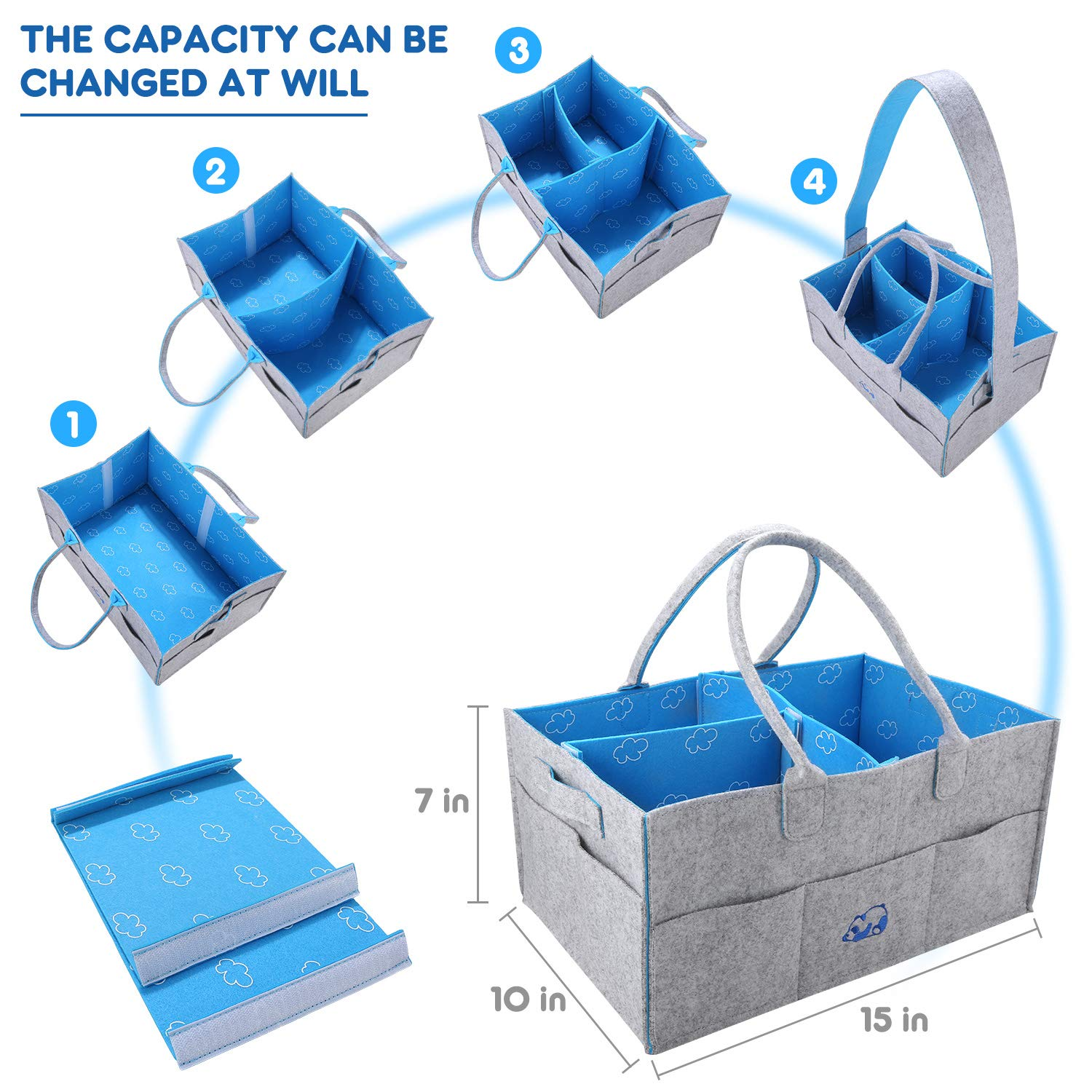 caddy Organizer I-FSK Baby Shower Basket for Boys Grils Travel Baby Diaper Organizer Gift Bakets Large Portable Car Organizer for Wipes Toy Baby Diaper Caddy Organizer