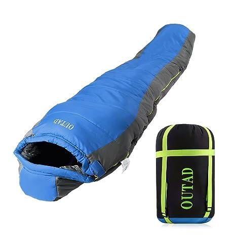 Saco de Dormir Ligero Saco de dormir Saco de Dormir Ultraligero con Saco de Compresión Impermeable para Acampar Senderismo Mochilero Viajar,Azul-gris