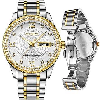 Amazon.com: Reloj de pulsera de acero inoxidable con números ...