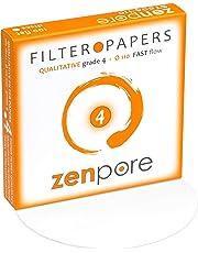 11 cm Lab Filter Paper, Standard Qualitative Grade 4 - ZENPORE Fast Flow (100 Discs - 110 mm)