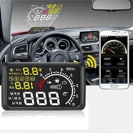 "5.5/"" A8 Car HUD Head Up Display OBD2 Compass Speedometer Speeding Warning"