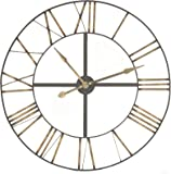 """Extra Large Skeleton Frame Wall Clock With Roman Numerals 36"""" Diameter"""