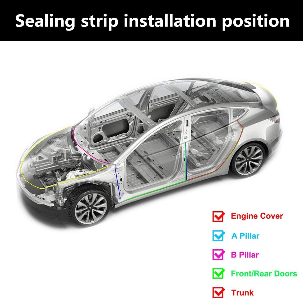 TONGXU Kit of 11 Pieces Door Seal for Car Model 3 Full Strip Seal for Cars Self-Adhesive Rubber Gaskets for Soundproofing Easy Installation Protection against Wind Water Noise
