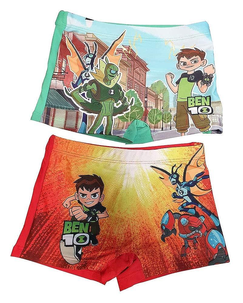 Pantaloncini da Bagno Ben10 in Confezione da 2 per Nuoto Canonbolt e Upgrade Vacanze e Piscina con Pantaloni da Bagno Ben Tennyson Verde e Rosso per Bambino Inferno