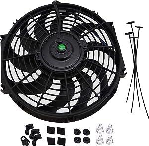 "Universal Slim Fan Push Pull Electric Radiator Cooling 12V 80W Mount Kit (12"", Black)"