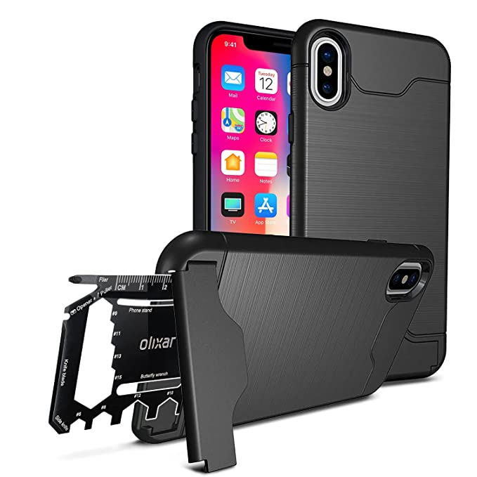new product b64c0 15a7b Olixar for iPhone X Tough Case - with 26 in 1 Survival Multi Tool -  Protective Armour Cover - Credit Card Slot & Built in Stand - X-Ranger -  Black