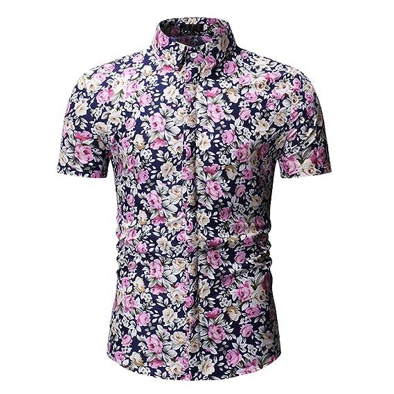 Camisas de Hombre Estampadas ❤ Absolute Blusa con Botones Impresa para Hombre Camisas Casual Hombre Manga Corta Camiseta de Manga Corta para Hombre Tops ...