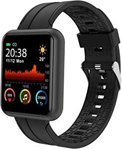 Smart Watch, IP67 Waterproof Fitness Tracker Watch with Blood Pressure Oxygen Monitor for Android Phones and iPhone Compatible, with Music Storage and Playback, Activity Tracker for Men Women Black