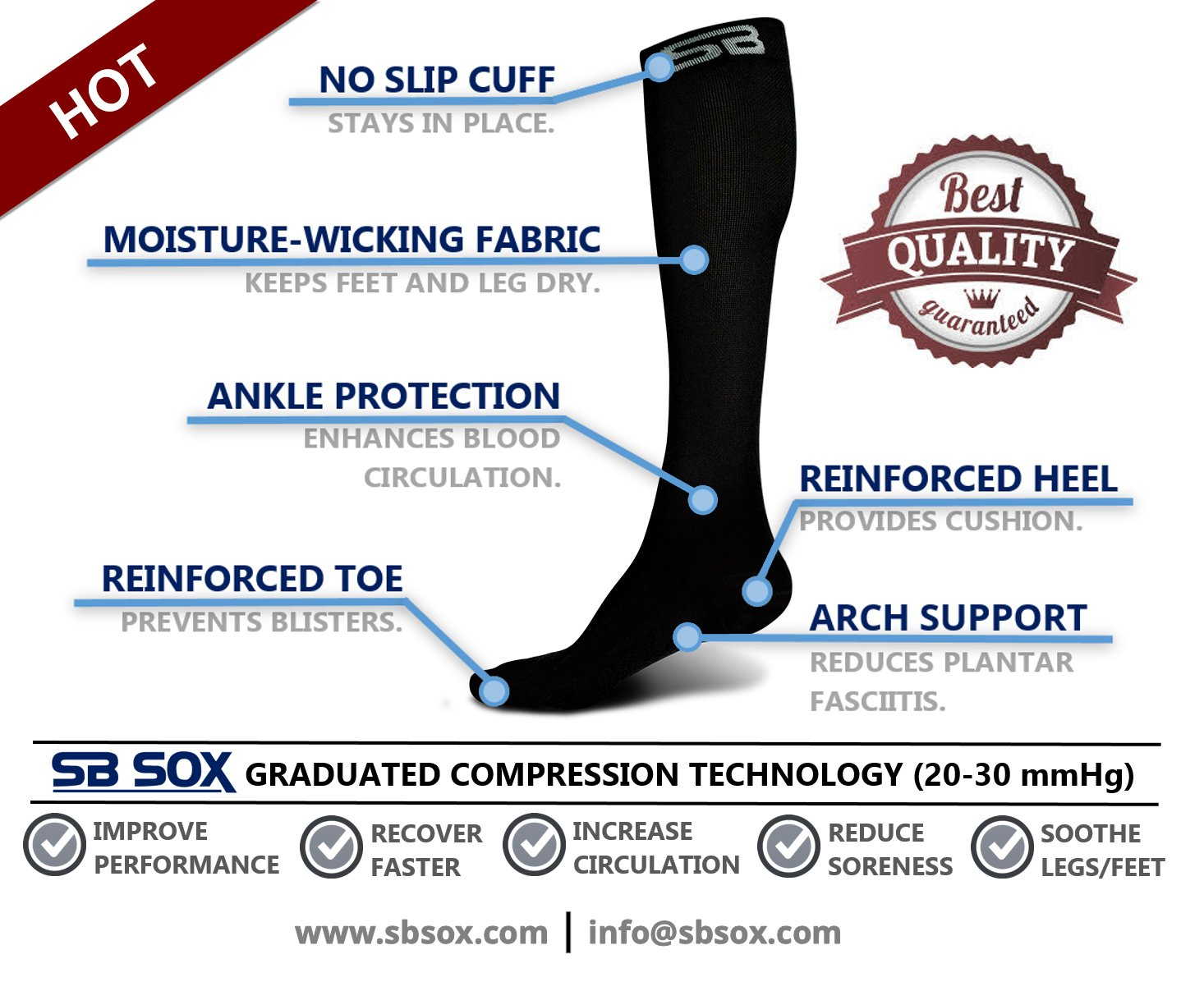 SB SOX Compression Socks (20-30mmHg) for Men & Women - Best Stockings for Running, Medical, Athletic, Edema, Diabetic, Varicose Veins, Travel, Pregnancy, Shin Splints. (Solid - Black, X-Large)