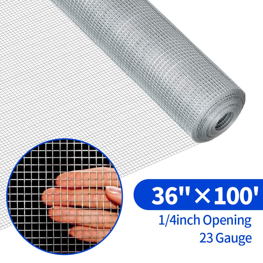 36inch Hardware Cloth 100 ft 1/4 Mesh Galvanized Welded Wire 23 gauge Metal Roll Vegetables Garden Rabbit Fencing Snake Fence for Chicken Run Critters Gopher Racoons Opossum Rehab Cage Wire Window by AMAGABELI GARDEN & HOME