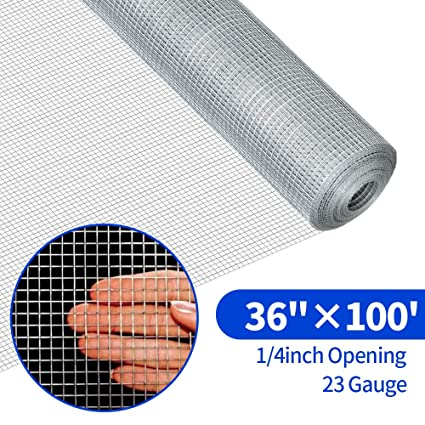 36inch Hardware Cloth 100 ft 1/4 Mesh Galvanized Welded Wire 23 gauge Metal  Roll Vegetables Garden Rabbit Fencing Snake Fence for Chicken Run Critters