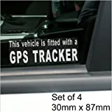 4 x Fitted with a GPS Tracker Security WINDOW Stickers For Car,Van,Truck,Taxi,Mini Cab,Bus,Coach Alarm Signs,Warning,Notice,Protection,Secure,Protect