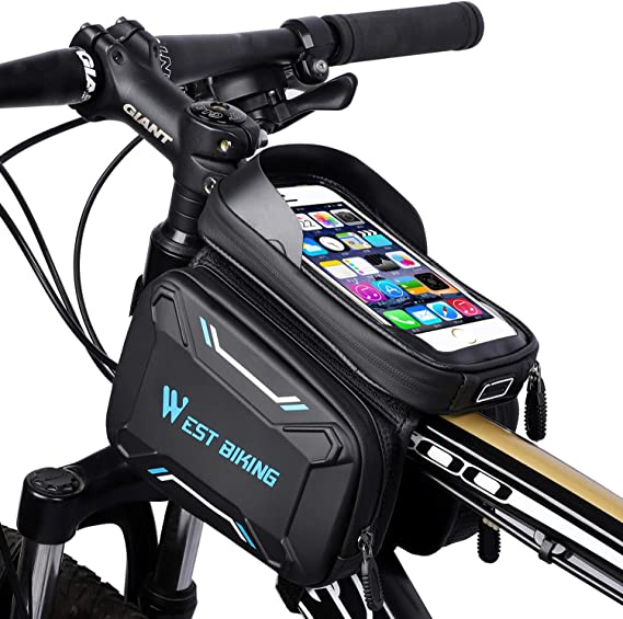 MYSBIKER Waterproof Bicycle Top Tube Cycling Phone Mount Pack with Touch Screen Sun Visor Large Capacity Phone Case for Cellphone Bike Phone Front Frame Bag
