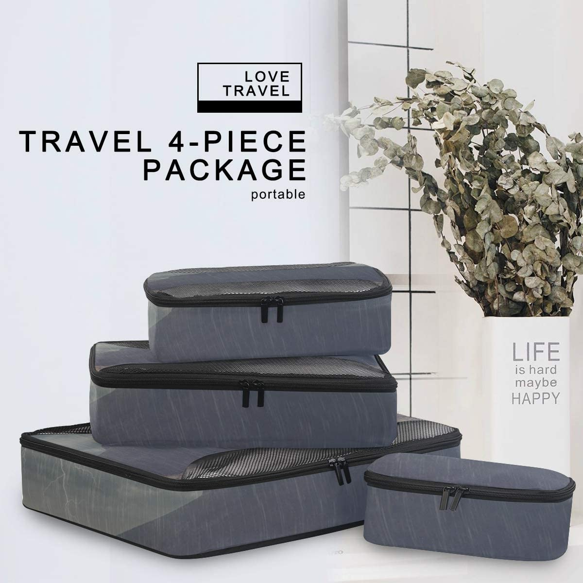 4 Set Packing Cubes Travel Luggage Packing Organizers Two Elephants With Plateau