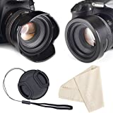 Reversible Tulip Flower Lens Hood for Canon Nikon Sony DSLR + Center Pinch Lens Cap with Cap Keeper Leash + Premium Microfiber Lens Cleaning Cloth Set 58mm/52mm/55mm/67mm/72mm